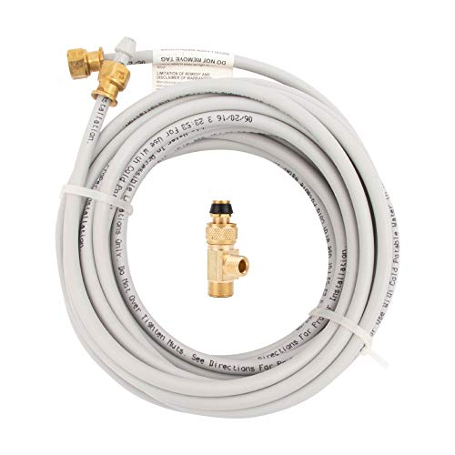 """PEX Ice Maker Installation Kit 25 Feet of Tubing for Appliance Water Lines with Stop Tee, 1/4"""" Compression Fittings, for Potable Drinking Water"""