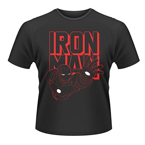 Plastic Head Marvel Avengers Assemble Iron Man Reach T-Shirt, Noir, (Taille Fabricant: Medium) Homme