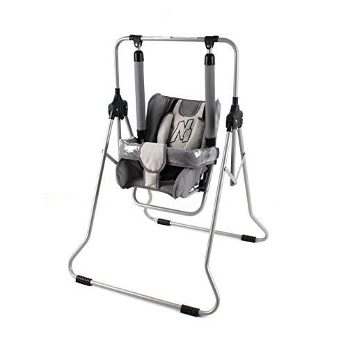 Clamaro 'N1' Babyschaukel 2in1 Indoor Baby Schaukel und Hochstuhl - Schaukelstuhl mit Tablett, Sicherheitsgurt, Bügel, gepolstertem Sitz, kompakt zusammenklappbar - Farbe: N-07 Grau/Grau