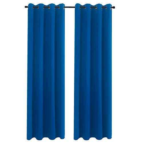 "Aquazolax Thermal Insulated Curtains Blackout Draperies Window Treatment Solid Grommet Room Darkening Drape Panels for Bedroom, 1 Pair, 54"" x 72"", Royal Blue"