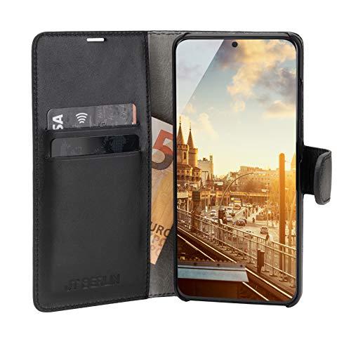 JT Berlin Bookcase Kreuzberg - Samsung Galaxy A51 Lederhülle (schwarz) [Echtes Rindsleder, Standfunktion, Kartenfächer, Sicherer Magnetverschluss] - 10576