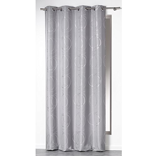 cortinas salon gris estampado