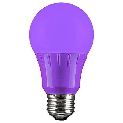 Sunlite 80132 Purple LED A19 3 Watt Medium Base 120 Volt UL Listed LED Light Bulb, last 25,000 Hours
