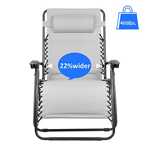 Homall Oversized Zero Gravity XL Padded Lounge Patio Recliner Folding Outdoor Adjustable Lawn Chair Support 400lbs with Headrest Pillow, Gray