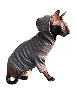 Sphynx KotomodaCatWear Sweat à capuche pour chat nu et sans poils Gris foncé Taille XS