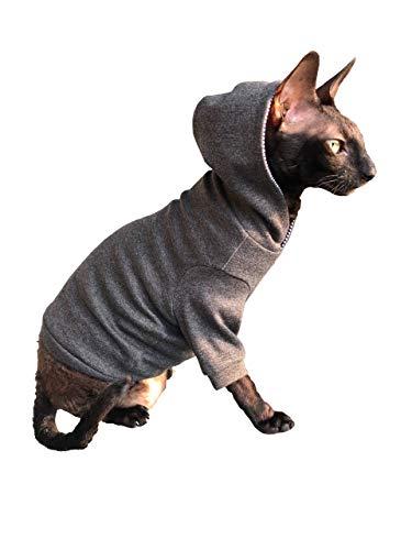 Kotomoda Sphynx Katzen Kleidung DUNKELGRAU Kapuzenpullover Trautes Heim, Glück allein (S)