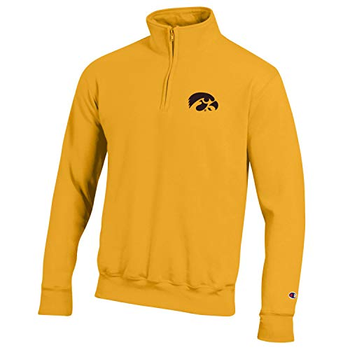 Champion NCAA Men's Powerblend Cotton-Poly 1/4 Zip Pullover (Iowa Hawkeyes-Gold, Large)