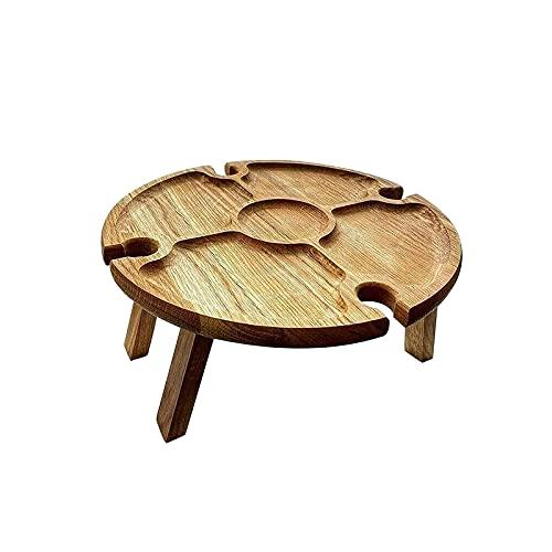 Hapeisy Mesa de picnic plegable de madera, portátil, creativa 2 en 1, para copas de vino, mesa plegable creativa, para jardín, fiesta, camping, playa