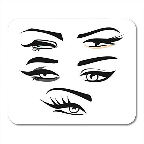 AOHOT Mauspads Eyeliner of Four Woman Eye Shape Silhouettes Eyebrows Long Eyelashes Makeup Mouse pad 9.5