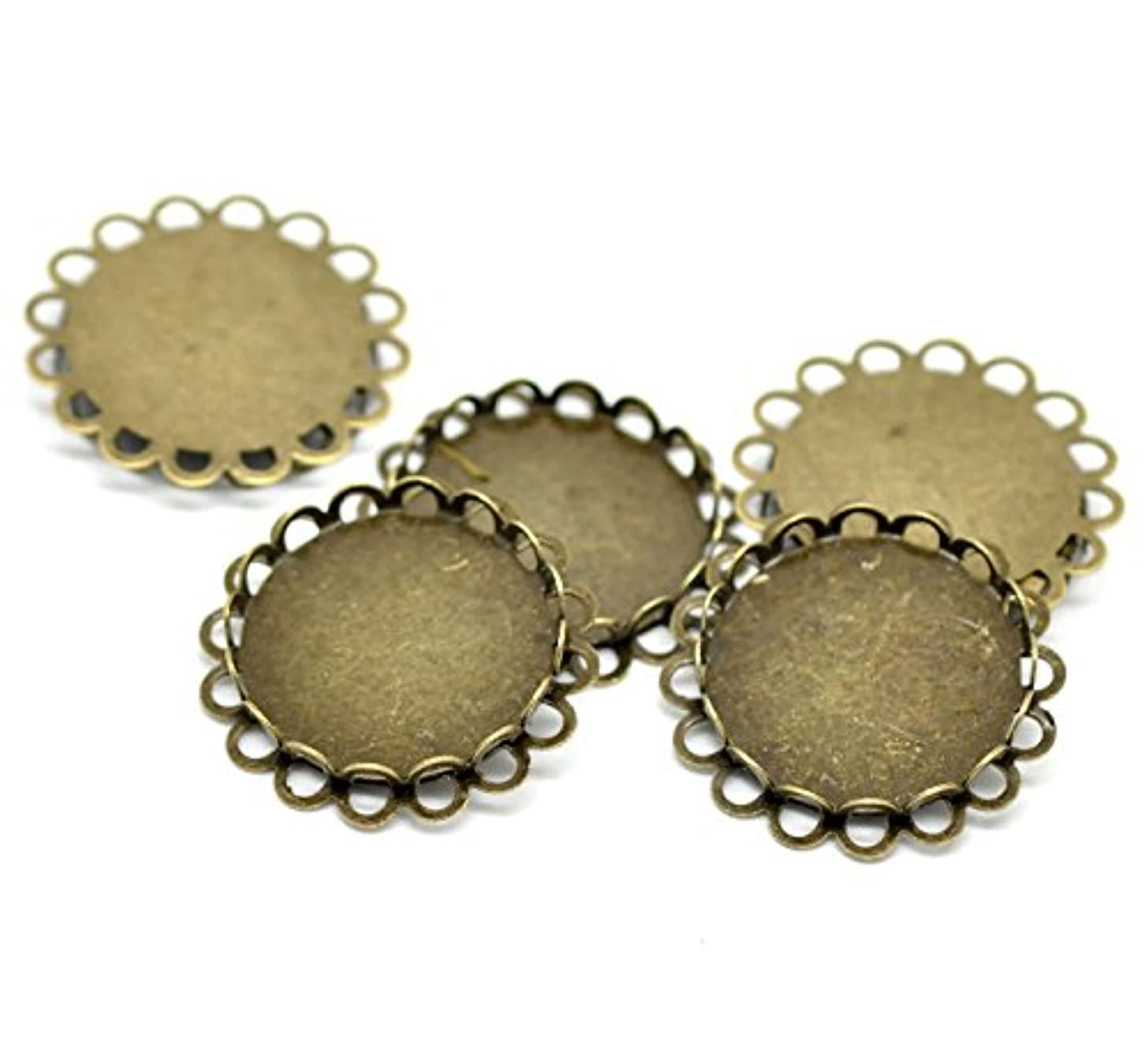 PEPPERLONELY Brand 20PC Antique Bronze Round Cabochon Frame Settings 32mm Fit 25mm