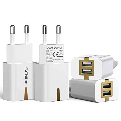 SCHITEC Cargador USB de Pared 2 Puertos, 4Pack 5V / 2.1A Adaptador...