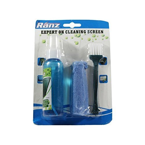 NSinc - 3 in 1 Screen Cleaning Set for PC, Laptops, Monitors, Mobiles, LCD, LED, TV/Professional Quality/Prevents Static Electricity, 100ml with Micro Fiber Cloth and Brush