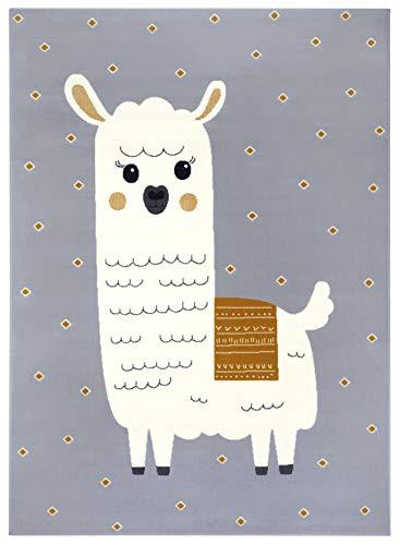 Hanse Home Kinderteppich Spielteppich Lama Monty (80x150 cm, 100{16fe6a76fd3170c48336fa473ebd1174fd9d4da8853df4e4727765f30dcf6266} Polypropylen, strapazierfähig und leicht zu reinigen, ringsum gekettelt, Fußbodenheizunggeeignet), Grau Senfgelb