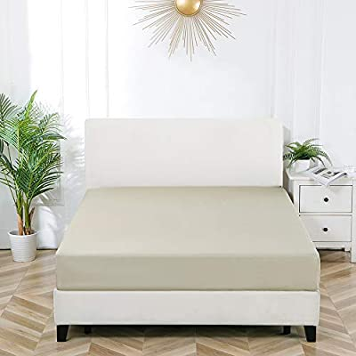Bourina Fitted Sheet Soft Microfiber Snug Fit,Wrinkle Free Easy Care - 1 Fitted Sheet Only, King Size Beige
