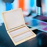 Caja de soporte de 100 portaobjetos Caja de almacenamiento de portaobjetos de microscopio Estructura de madera Posiciones de portaobjetos numeradas con cierre de cierre para almacenamiento