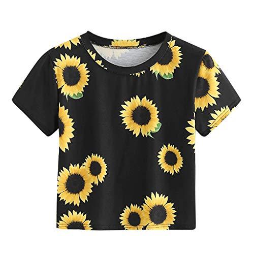 SHOBDW Stilvoll Damen Casual T-Shirt O-Neck kurzärmliges T-Shirt Frauen Sommer Mode Elegant Sonnenblumen Drucken Kurz Shirts Pullover Junge Dame Lässig Trendigen College Stil Tops Bluse
