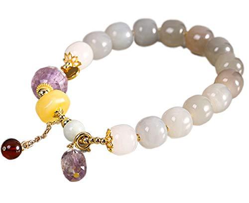 CHXISHOP Pulseras de cuentas para mujer, pulsera de cuentas de piedras preciosas premium, pulsera de jade púrpura ahumado de jade de Hetian