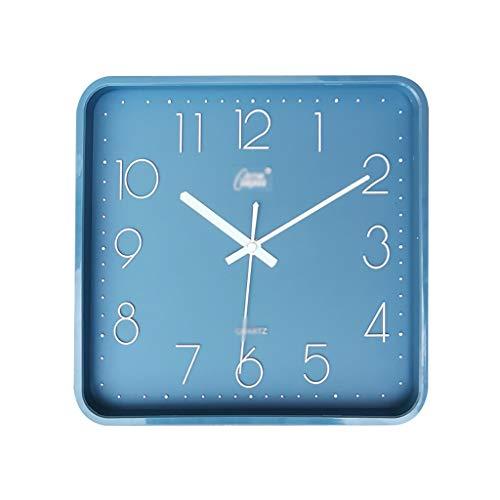ZZL Reloj de pared simple de 30,5 cm, silencioso, cuadrado, reloj de pared, sala de estar, escuela, oficina, fácil de leer funciona con pilas, color azul