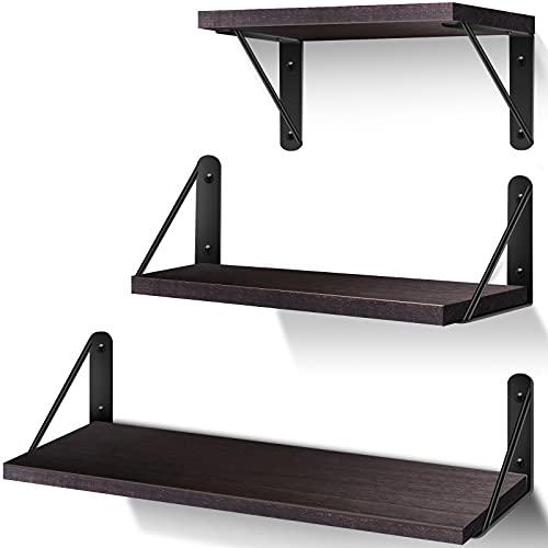 AIBORS Juego de 3 estanterías flotantes de pared de madera rústica, decoración ideal para cocina, baño, pasillo, salón (marrón oscuro)