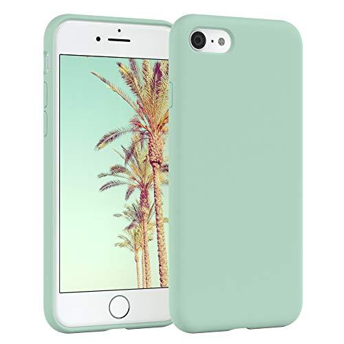 EAZY CASE Premium Silikon Handyhülle kompatibel mit iPhone 7/8 / SE (2020), Slimcover mit Kameraschutz & Innenfutter, Silikonhülle, Schutzhülle, Bumper, Handy Hülle, Hülle, Softcase, Mint Grün