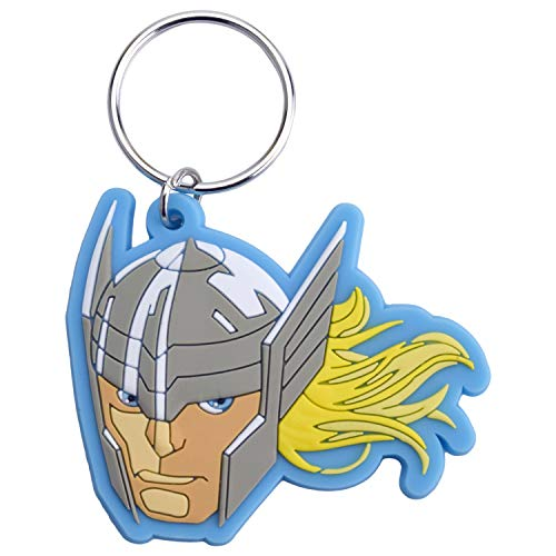 HOVUK Kids Licensing Thor Face Keyring Keychain Boys Collectable Super Hero 2D Rubber Action Figures Popular Kids Disney Character Keyring, Keychains