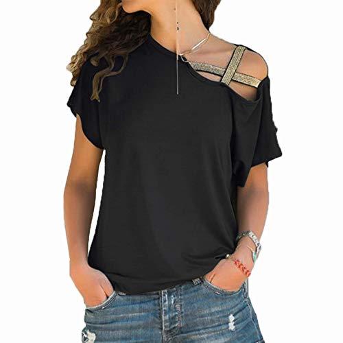 Camiseta Casual de Manga Corta con Hombros Descubiertos y Cruzados Irregulares Mujer