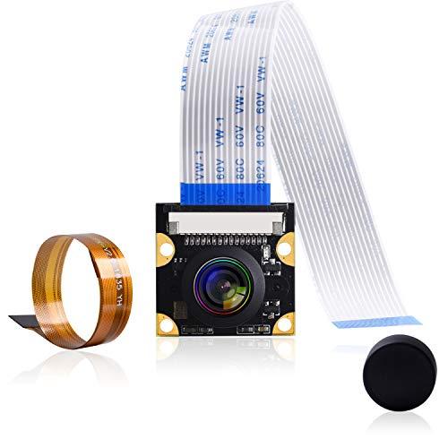 Bruphny Raspberry Pi Camera Module Wide Angle 160° Fisheye Lens HD1080p OV5647 5MP Camera Adjustable-Focus Module Drone Webcam for Raspberry Pi 4, 3 B+, 3 B, 2 B, Zero