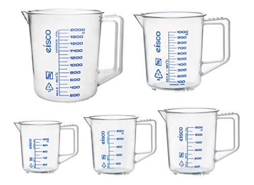 Eisco Labs - Juego de jarra medidora (100, 250, 600, 1000 y 2000 ml, polipropileno, graduaciones serigrafiadas, boquilla y mango para facilitar el vertido - Excelente claridad...