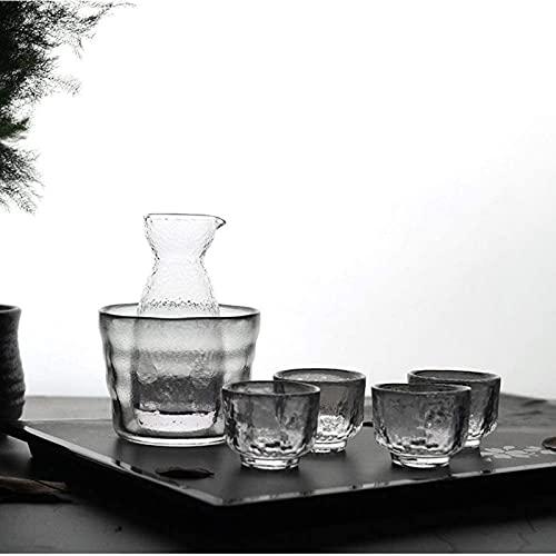 SHANCL Sake Set JUG Hammer-Formado en Forma de Vidrio Juego de Copa de Vino Cubierta de Hielo Cubierta de Vino Artesanía de Vino Copas de Vino (Color : Transparent, Size : Four Cups per Pot)