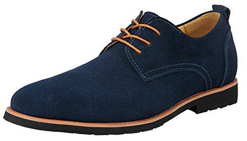 Derby Schuhe Herren Blau Oxford Leder Suede Schnürhalbschuhe Oxfords Schnürer Business 46 EU - US 12