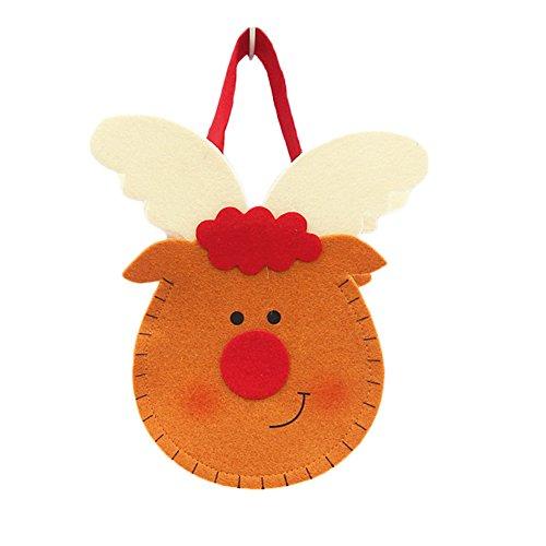 CAOLATOR Sac Cadeau pour Le réveillon de Noël Mignon Décoration de Fête Noël Accrocher Motif Sac pour Bonbons Biscuit Tissu de Livraison pour Enfants Elk 21 * 15cm