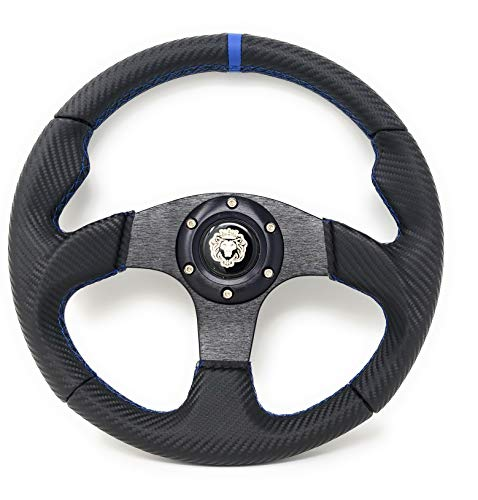 12.5' Steering Wheel w/Horn Blue 6 Hole, EZGO Club Car Boat UTV Golf Cart