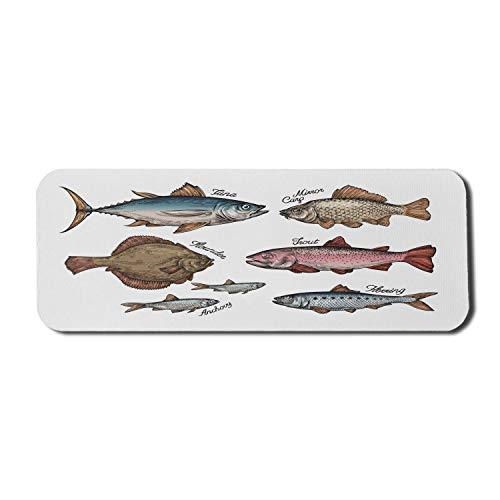 Fisch Computer Mauspad, illustrierte Fische wie Thunfisch Forelle Karpfen Flunder Sardellen Hering Aquarium Tiere, Rechteck rutschfeste Gummi Mousepad große mehrfarbig