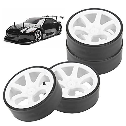 Llantas de ruedas RC, larga vida útil mejora el rendimiento general Llantas de goma de orugas RC más atractivas para piezas de actualización de automóviles RC(white)