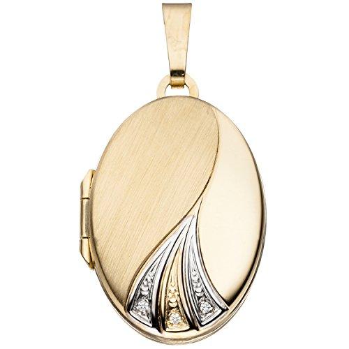 JOBO Damen-Medaillon aus 333 Gold Bicolor mit Zirkonia Oval zum Öffnen für 2 Fotos