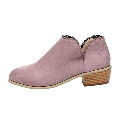 ZODOF Botines De Encaje Botas De Mujer De Moda Punta Redonda Navidad Boots Classic Botines Zapatos Casuales