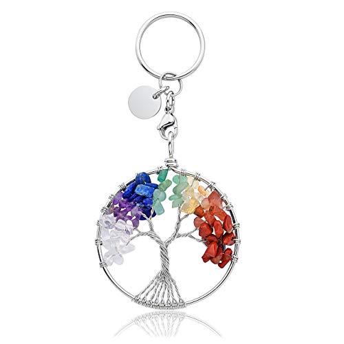 JOVIVI 7 Chakra Tree of Life Crystal Keyring Gemstone Healing Crystals Keychain Silver ID Tag Car Key Ring Tumbled Stone Beads Key Chain Women Men