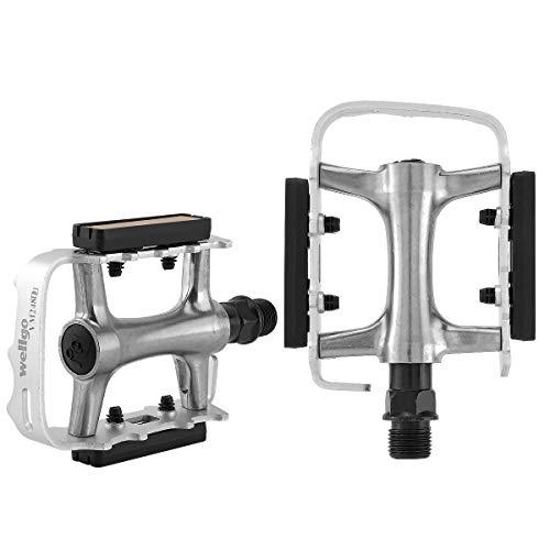 MidGard Pedali per bicicletta pedali per bicicletta in acciaio/lega di alluminio 9/16 pollici per MTB e-bike trekking BMX freeride ecc. Argento