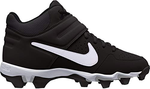 Nike Youth Alpha Huarache Varsity Keystone Mid Baseball Cleat (6 Big Kid, Black/White)