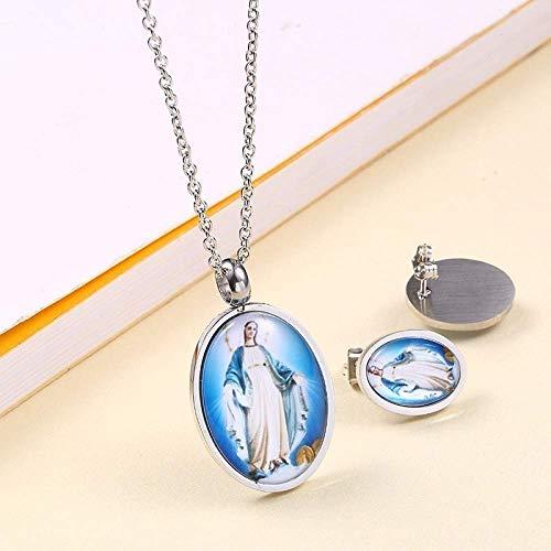 Gepersonaliseerde accessoires, halskettingen, sieradensets zilver en goud roestvrij staal ronde betrouwbare hanger ketting met oorstekers, Thumby Silver3