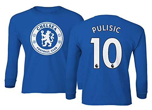Spark Apparel London Blue #10 PULISIC Soccer Jersey Style Boys Girls Youth Long Sleeve T-Shirt (Royal, Youth - Large)