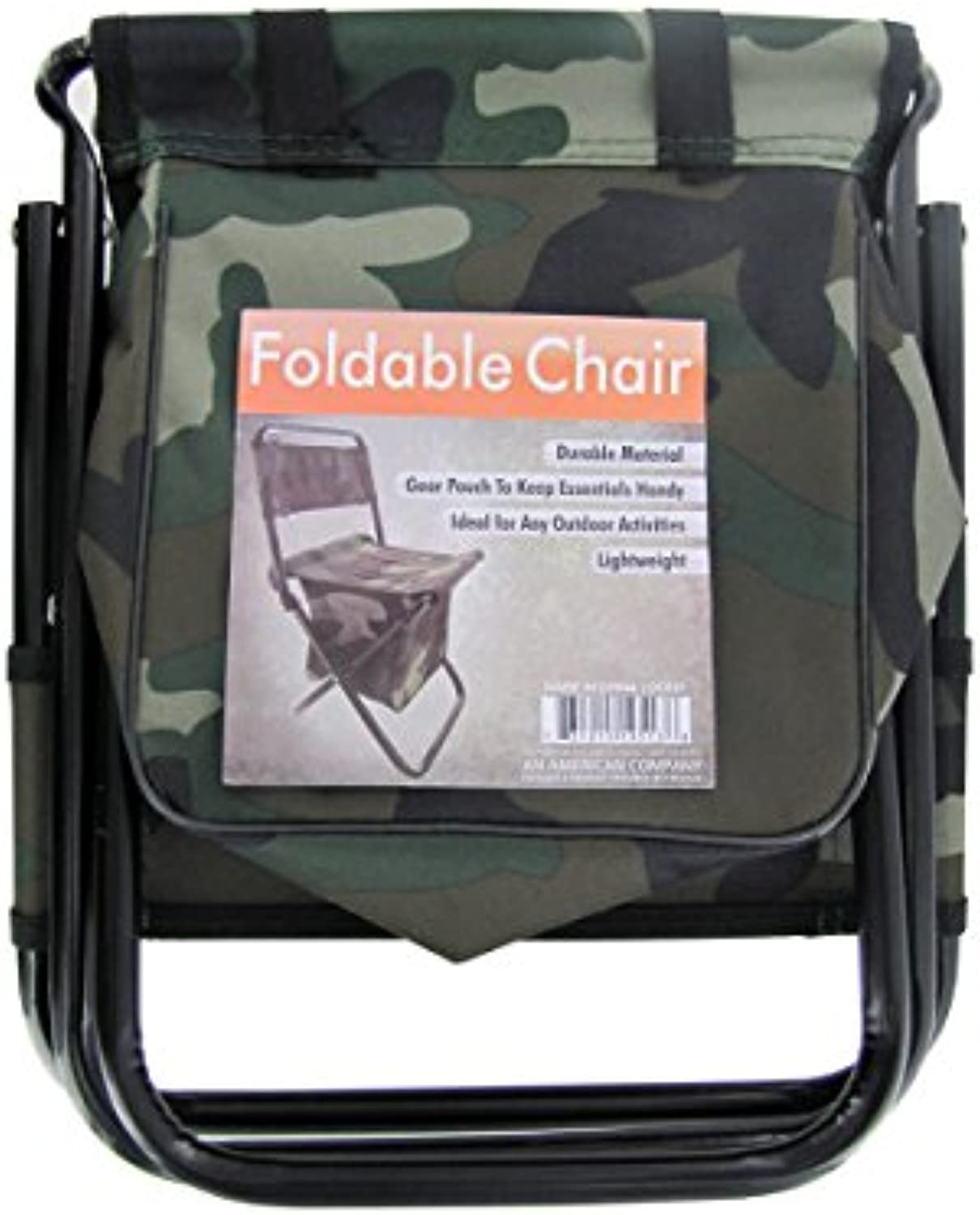 Bulk Buys Camouflage Foldable Chair with Zipper Gear Pouch (Set of 8)