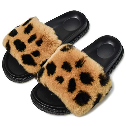 AONEGOLD Pantofole Donna con Pelo Ciabatte Pelose Moda Comfy Fuzzy Fuffy Sandali Punta Aperta Piatto Antiscivolo Slipper Outdoor/Indoor(Leopardo,Taglia 39)