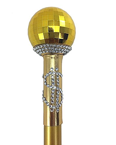 shoperama Goldener Zuhälter Stock zerlegbar Dandy Stock Pimp Stick für Herren-Kostüm Gold