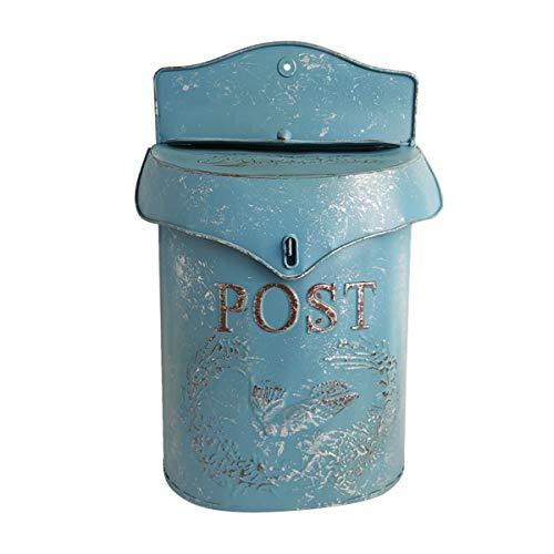TentHome Wand Briefkasten Wandbriefkasten Postkasten Mailbox Metall Landhaus Post Zeitung Vogel Motiv Briefkastenanlage Farbiger Letterbox Abschließbar mit klappe (Blau)