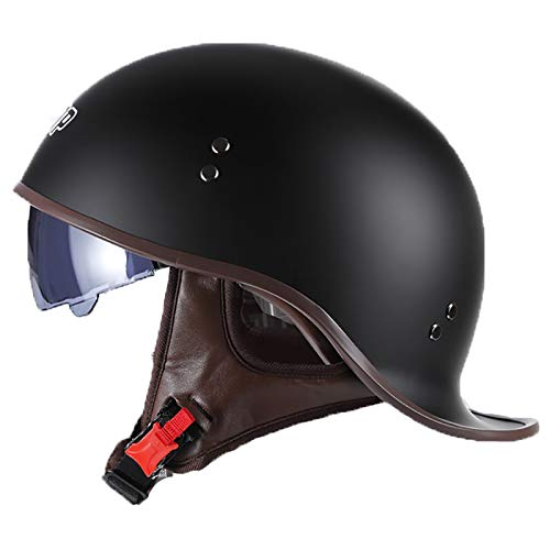 Retro Motorrad Halbhelme Brain-Cap · Erwachsene Halbschale Jet-Helm Scooter-Helm Mofa-Helm Vintage Offenem Helm mit Visier für Cruiser Chopper Biker Moped ECE zertifizierter A,M=57~58cm
