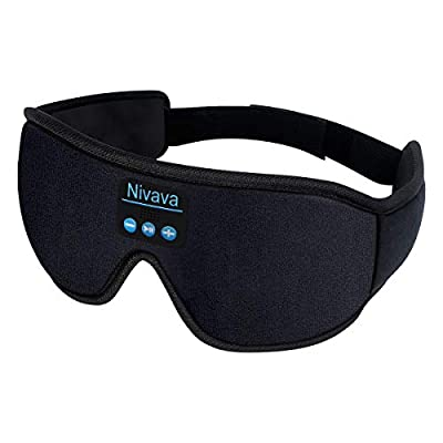 Nivava S8 Sleeping Headphones Bluetooth 5.0 Wireless 3D Eye Mask for Side Sleepers Washable Adjustable Perfect for Traveling (Black) from Nivava