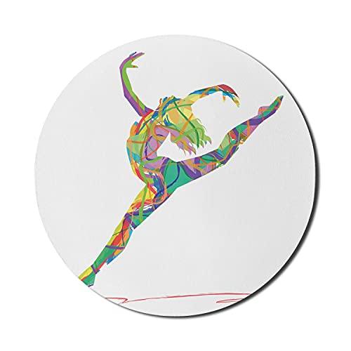 Tanzmaus-Pad für Computer, Zusammenfassung eines Tänzers Lebendige farbige zufällige Linien springender Ballerina-Druck, rundes rutschfestes dickes Gummi-modernes Gaming-Mauspad, 8 'rund, mehrfarbig