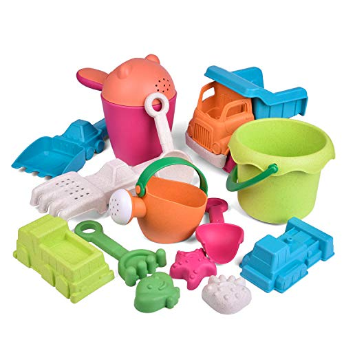 FUN LITTLE TOYS Kids Beach Sand Toy Set Beach Bucket Car Watering Can Shovel Rake and Molds EcoFriendly Sandbox Toys Kids Outdoor Toys 14 Piece