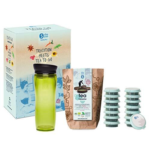 Shuyao Tea to Go Theezeef, starterdoos, thermobeker met geïntegreerde theezeef + 5 x 3 losse bio-thee met cafeïne, groen, 32
